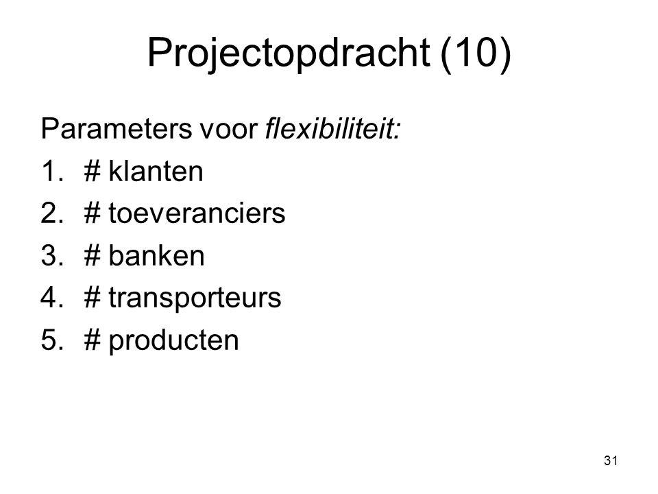 Projectopdracht (10) Parameters voor flexibiliteit: # klanten