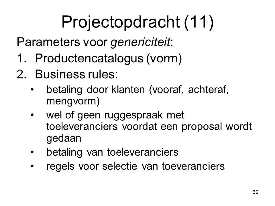 Projectopdracht (11) Parameters voor genericiteit: