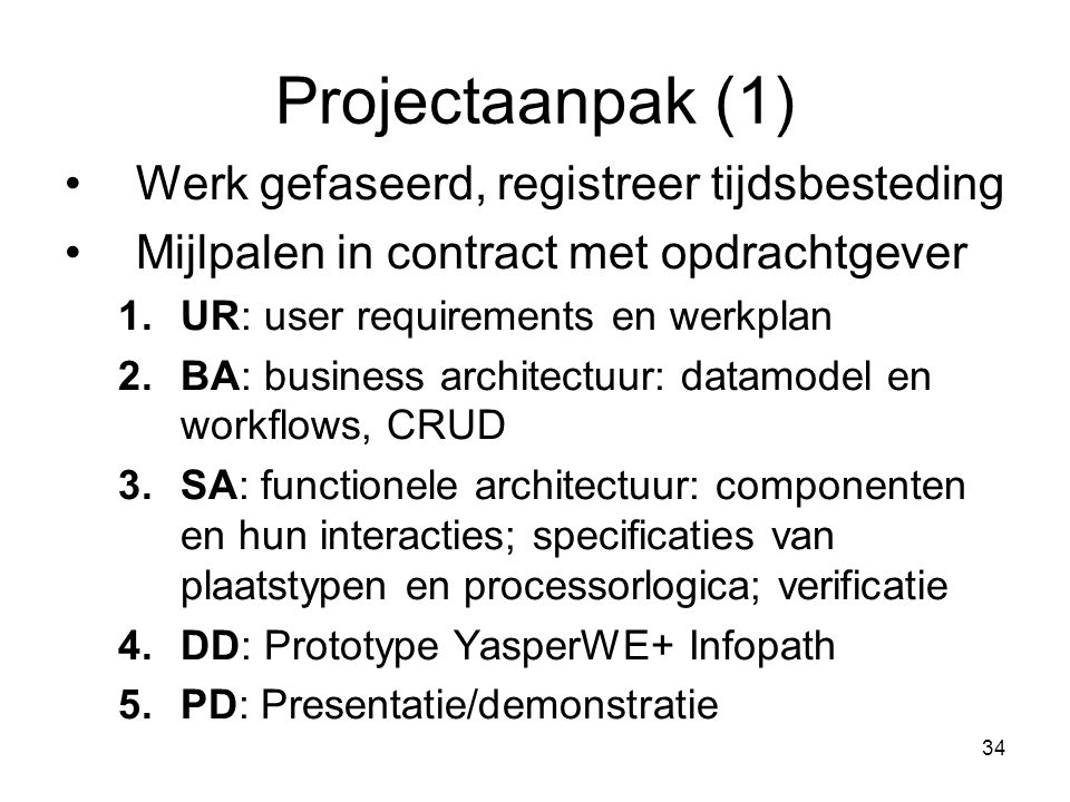 Projectaanpak (1) Werk gefaseerd, registreer tijdsbesteding