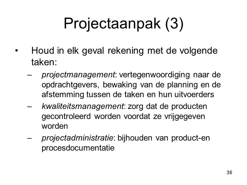 Projectaanpak (3) Houd in elk geval rekening met de volgende taken: