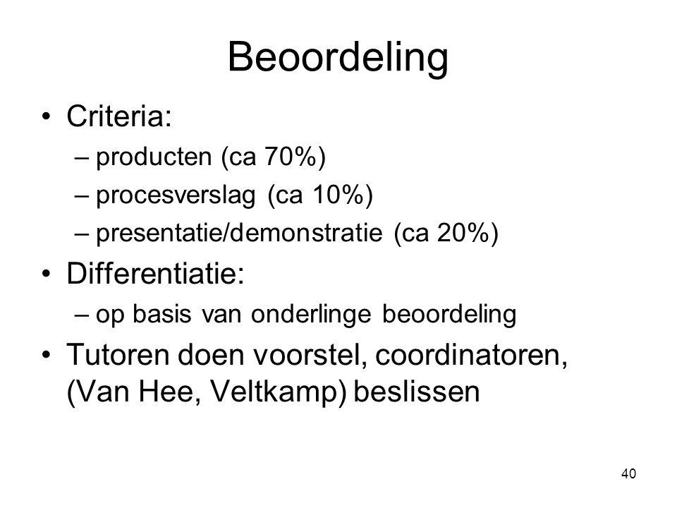 Beoordeling Criteria: Differentiatie: