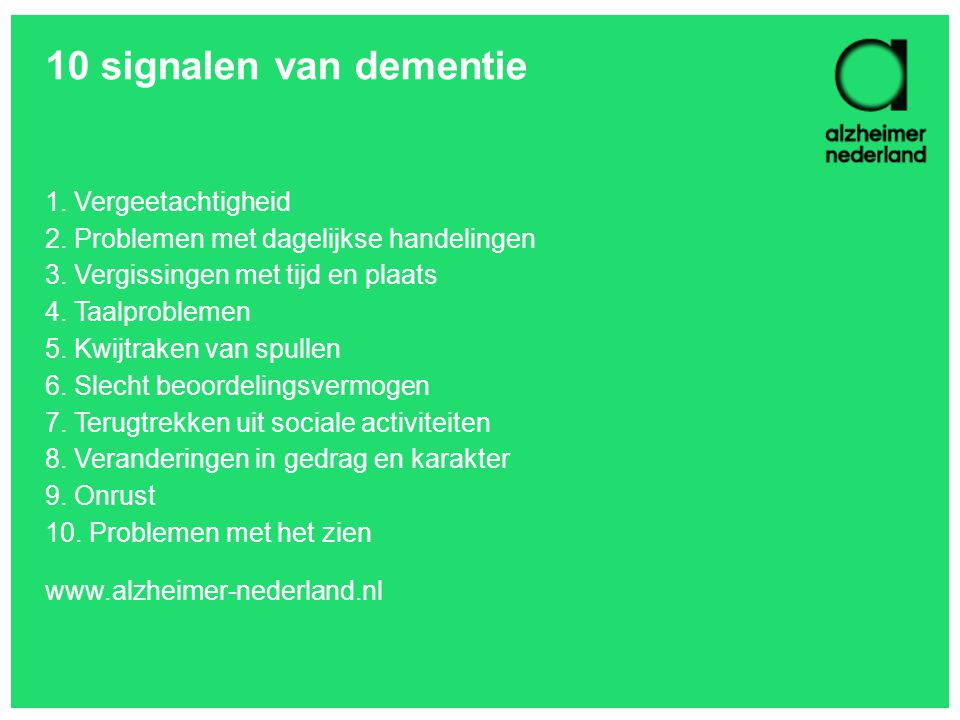 10 signalen van dementie