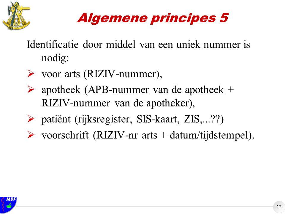 Algemene principes 5 Identificatie door middel van een uniek nummer is nodig: voor arts (RIZIV-nummer),