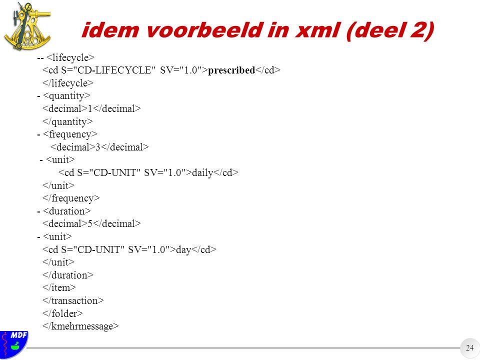 idem voorbeeld in xml (deel 2)