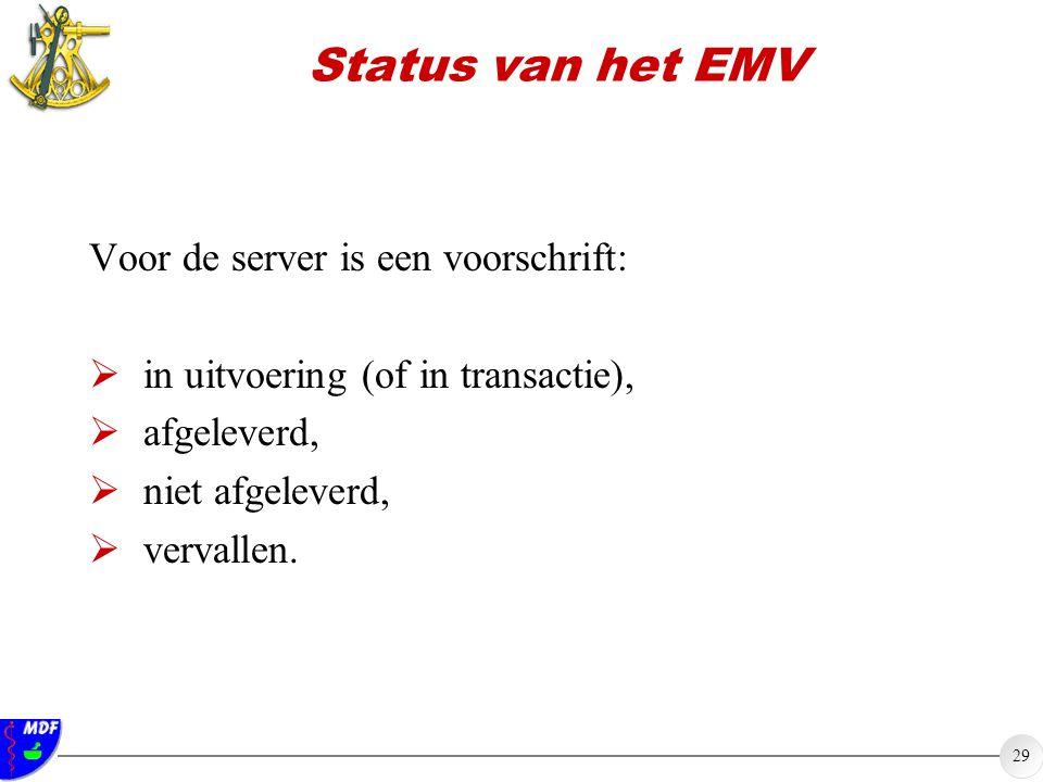 Status van het EMV Voor de server is een voorschrift: