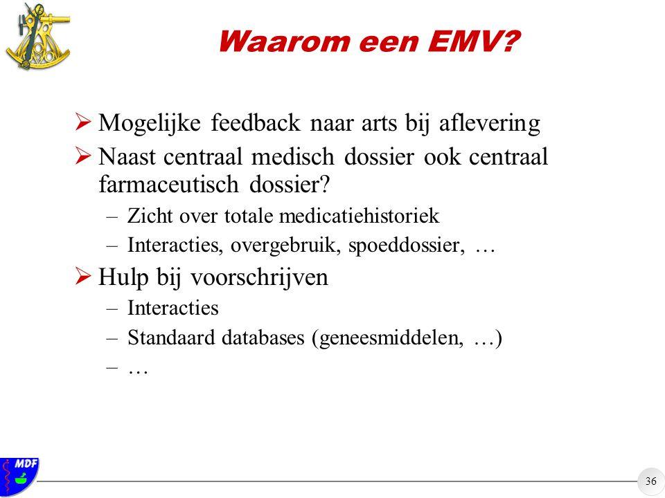 Waarom een EMV Mogelijke feedback naar arts bij aflevering