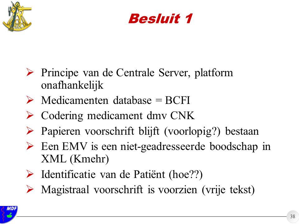 Besluit 1 Principe van de Centrale Server, platform onafhankelijk
