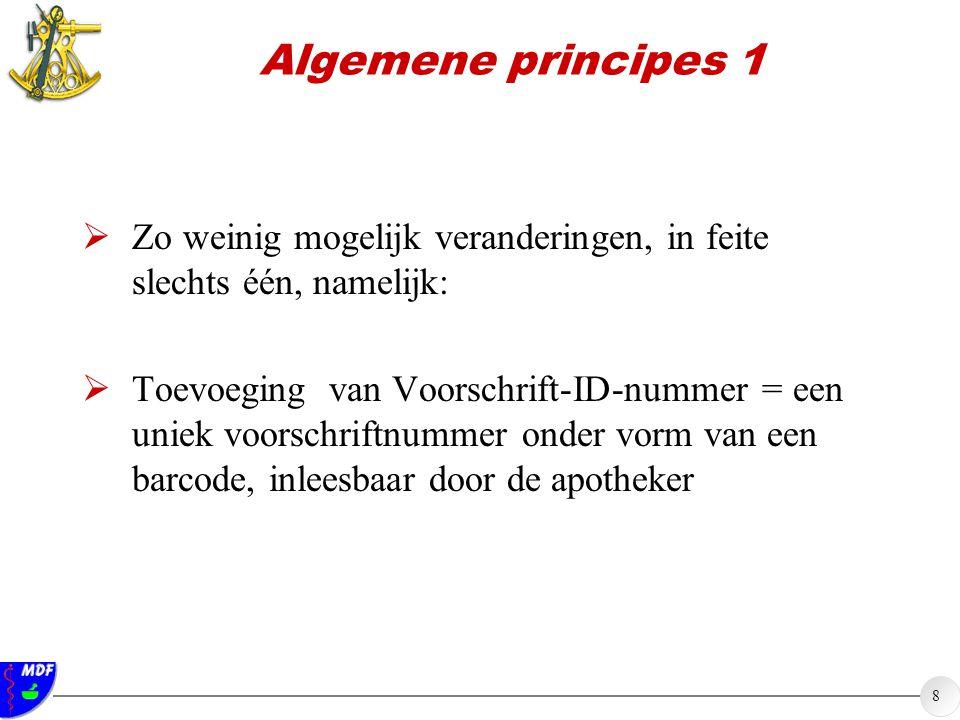 Algemene principes 1 Zo weinig mogelijk veranderingen, in feite slechts één, namelijk: