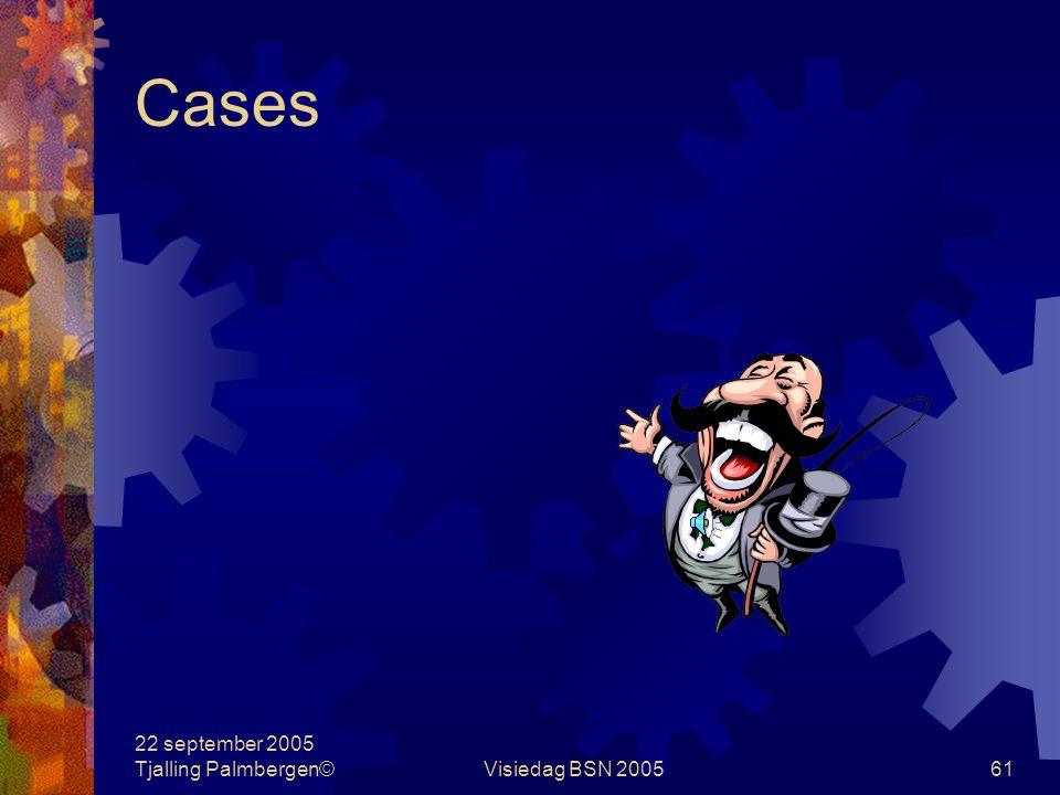 Cases 22 september 2005 Tjalling Palmbergen© Visiedag BSN 2005