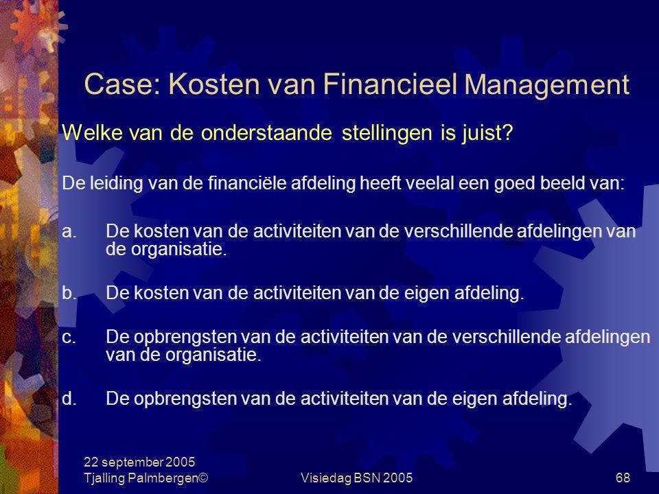 Case: Kosten van Financieel Management