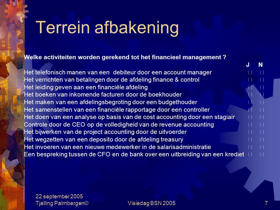 Terrein afbakening Welke activiteiten worden gerekend tot het financieel management J N.