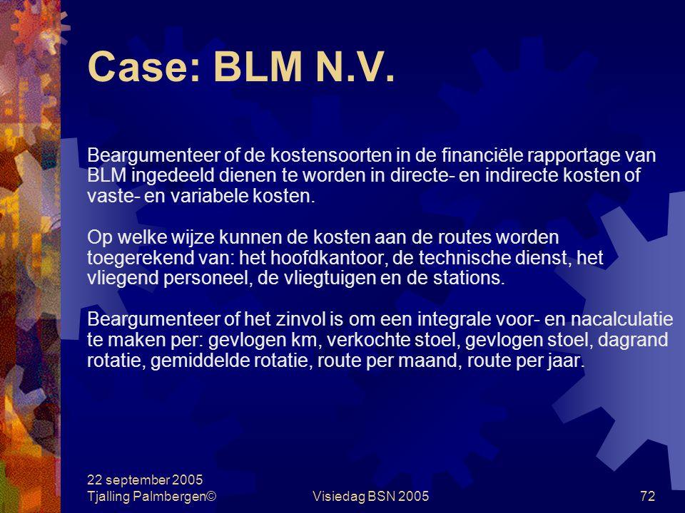 Case: BLM N.V. Beargumenteer of de kostensoorten in de financiële rapportage van. BLM ingedeeld dienen te worden in directe- en indirecte kosten of.
