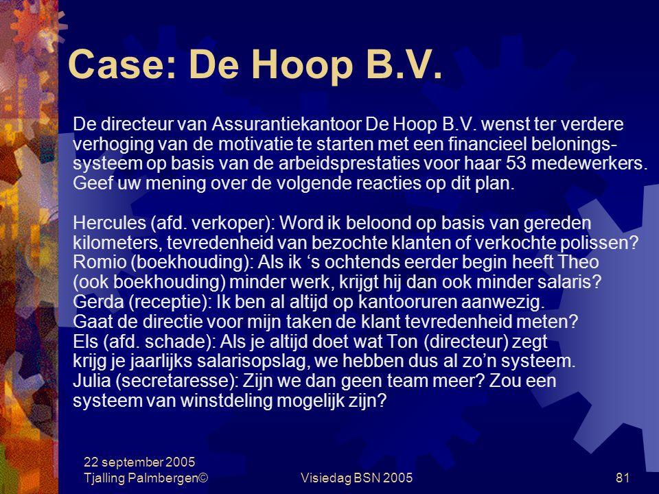 Case: De Hoop B.V. De directeur van Assurantiekantoor De Hoop B.V. wenst ter verdere.