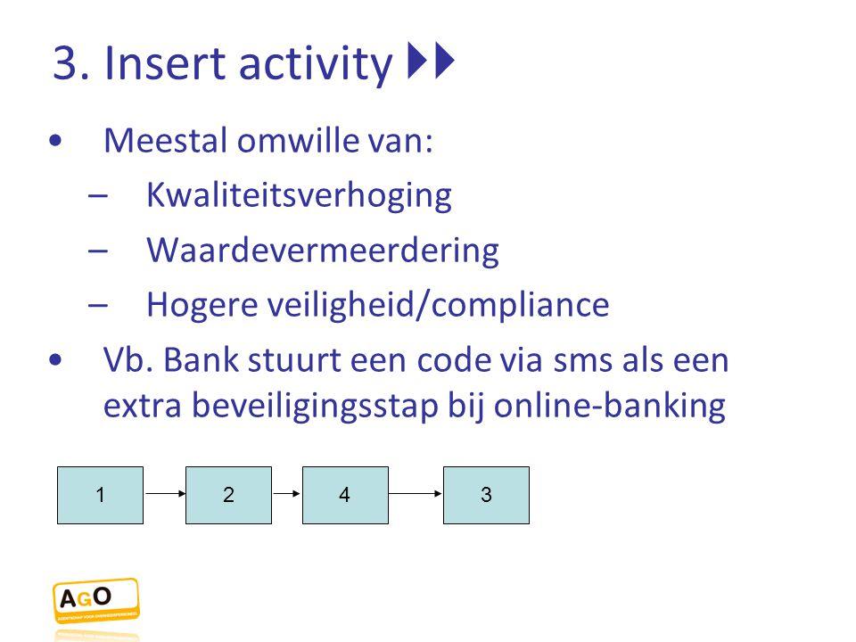 3. Insert activity  Meestal omwille van: Kwaliteitsverhoging