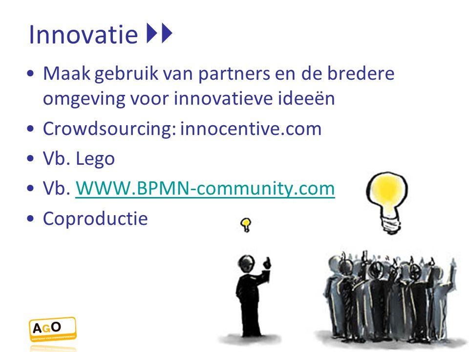 Innovatie  Maak gebruik van partners en de bredere omgeving voor innovatieve ideeën. Crowdsourcing: innocentive.com.