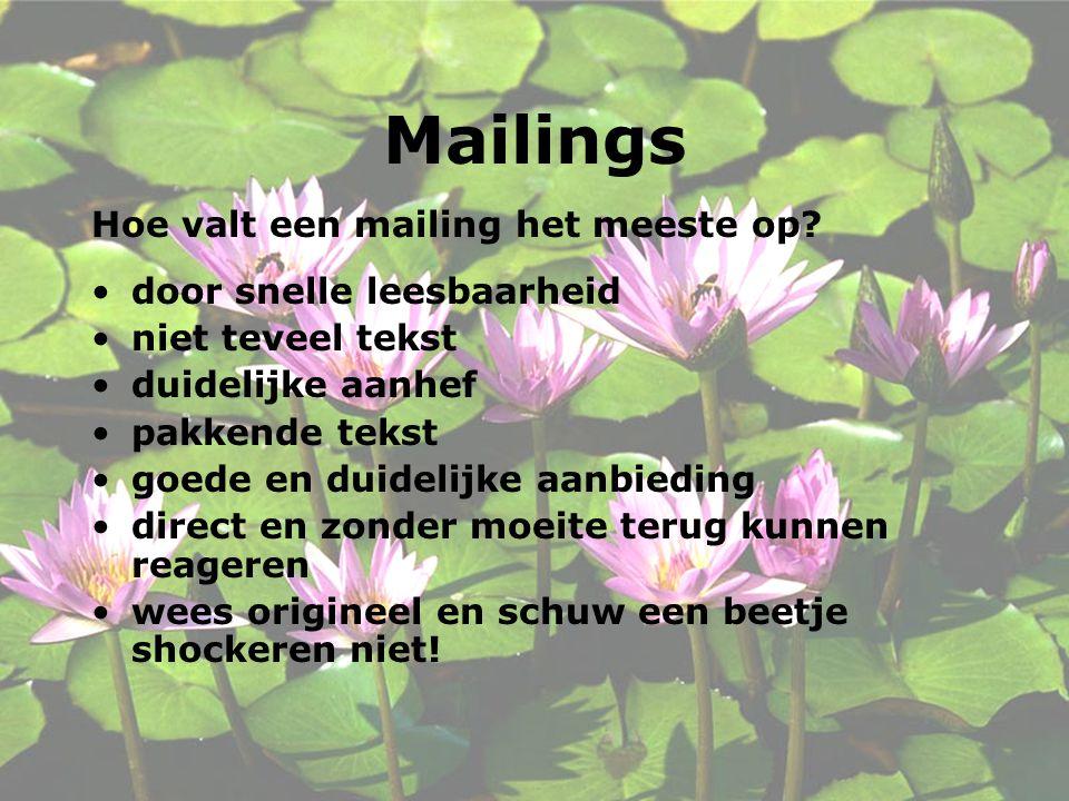 Mailings Hoe valt een mailing het meeste op door snelle leesbaarheid