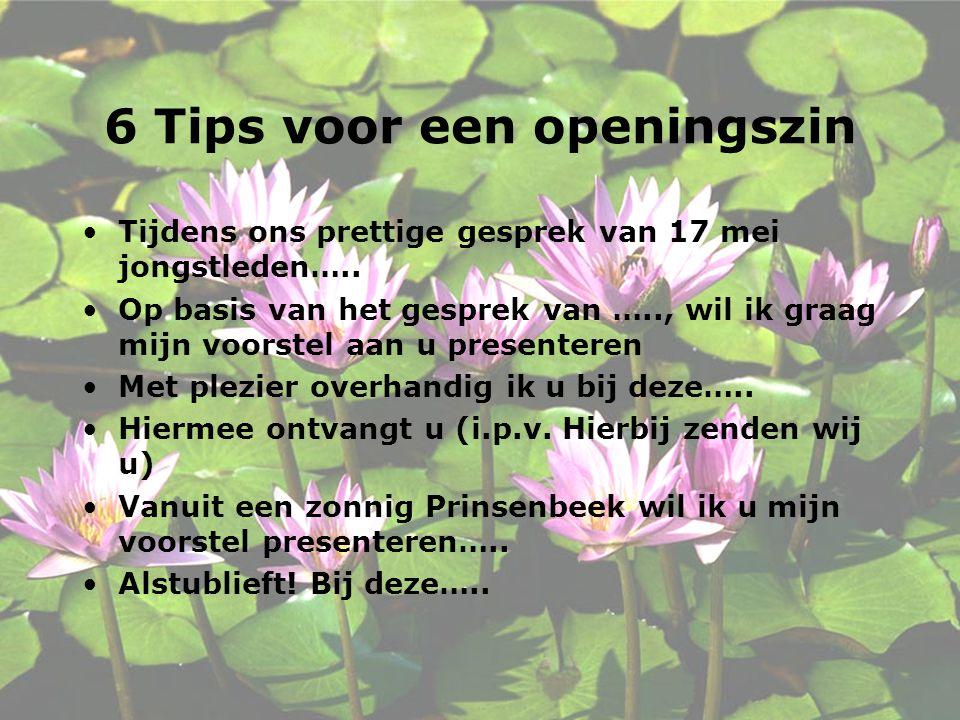 6 Tips voor een openingszin
