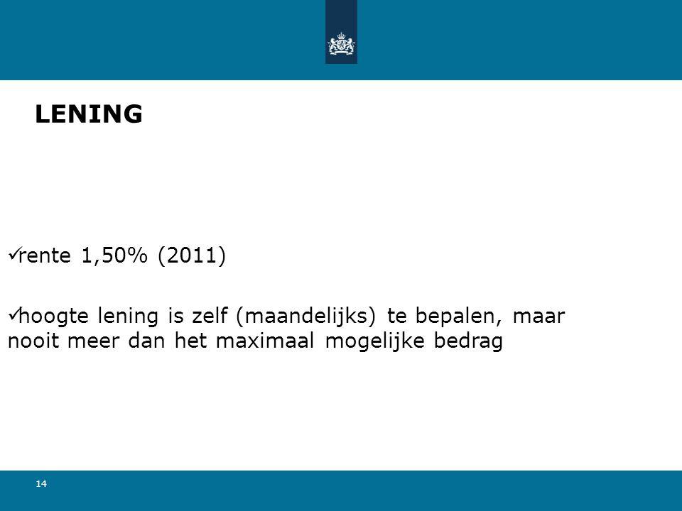 LENING rente 1,50% (2011) hoogte lening is zelf (maandelijks) te bepalen, maar nooit meer dan het maximaal mogelijke bedrag.