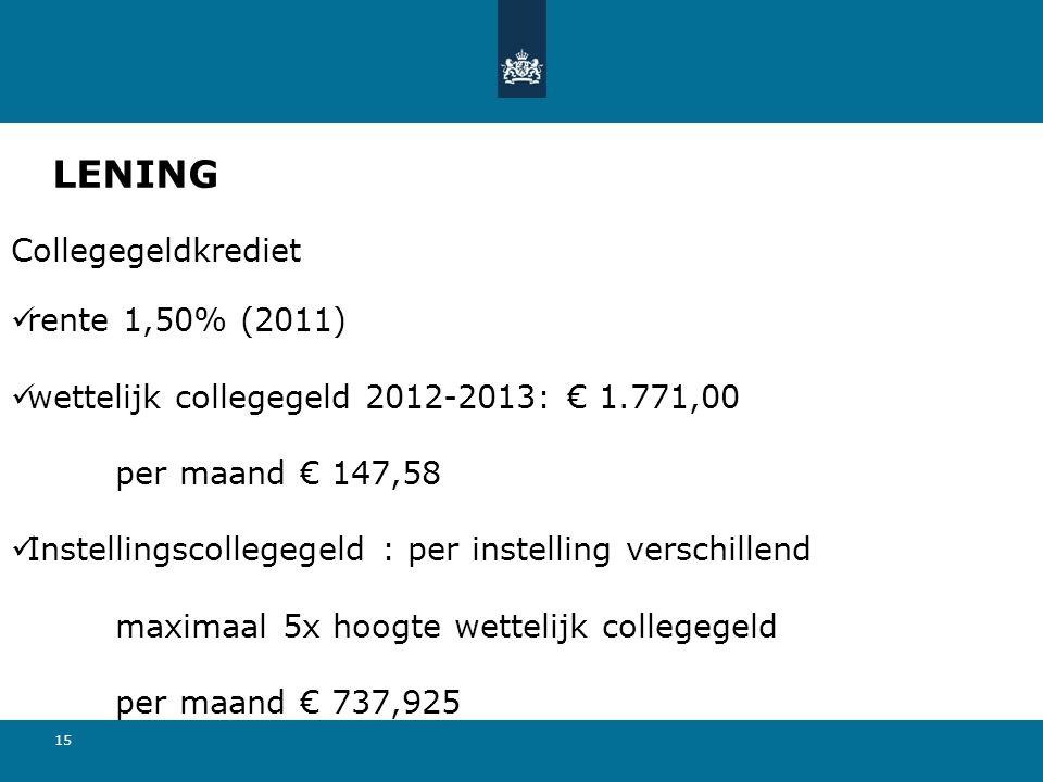 LENING Collegegeldkrediet rente 1,50% (2011)