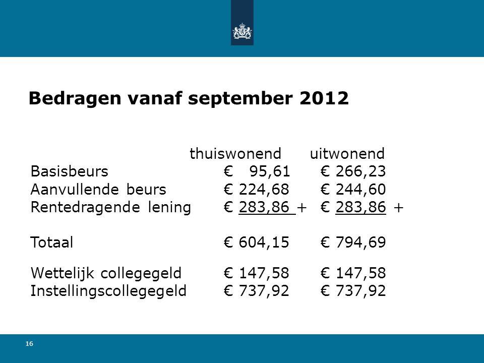 Bedragen vanaf september 2012