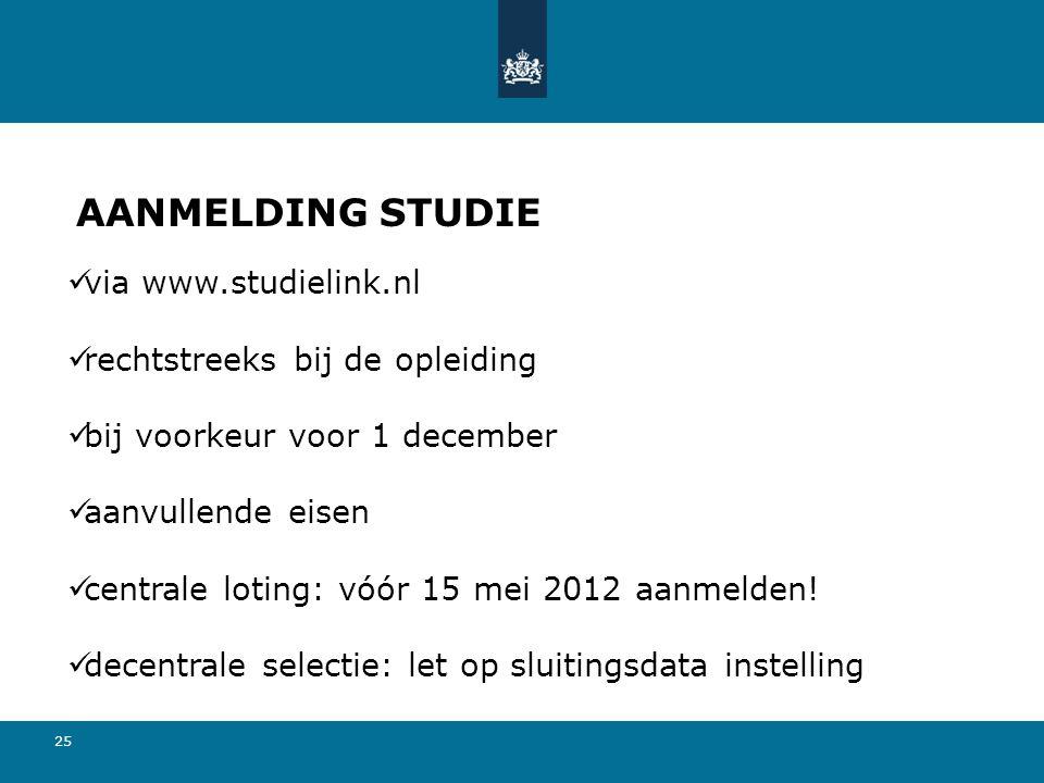 AANMELDING STUDIE via www.studielink.nl rechtstreeks bij de opleiding
