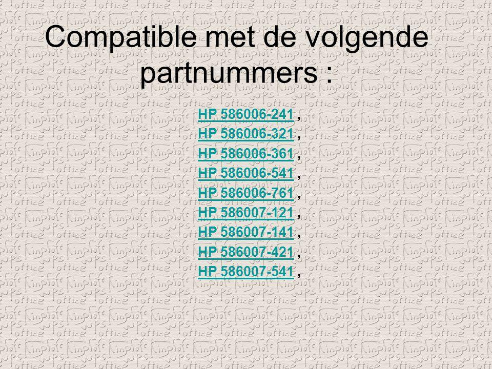 Compatible met de volgende partnummers :