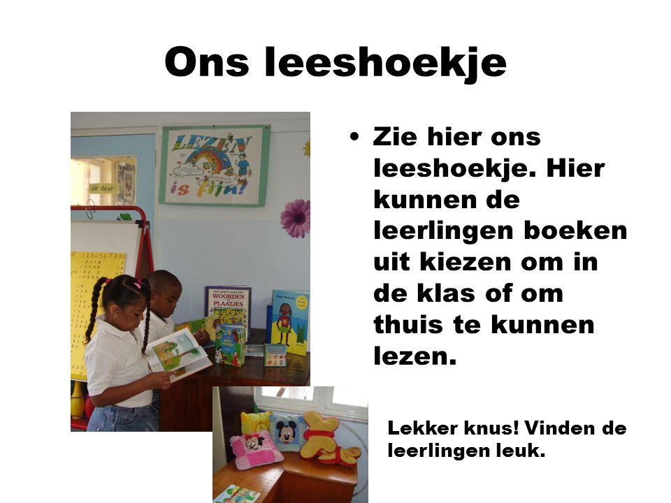 Ons leeshoekje Zie hier ons leeshoekje. Hier kunnen de leerlingen boeken uit kiezen om in de klas of om thuis te kunnen lezen.