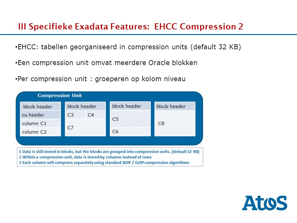 III Specifieke Exadata Features: EHCC Compression 2