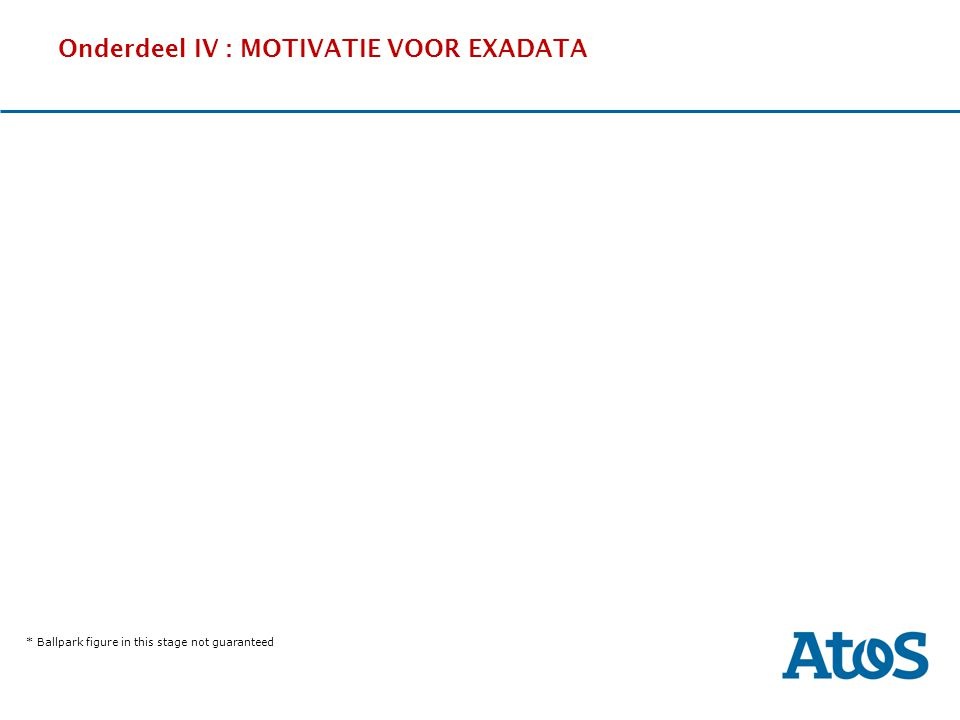 Onderdeel IV : MOTIVATIE VOOR EXADATA