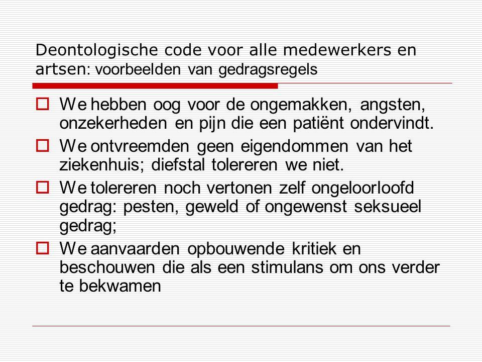 Deontologische code voor alle medewerkers en artsen: voorbeelden van gedragsregels