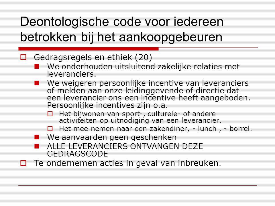 Deontologische code voor iedereen betrokken bij het aankoopgebeuren