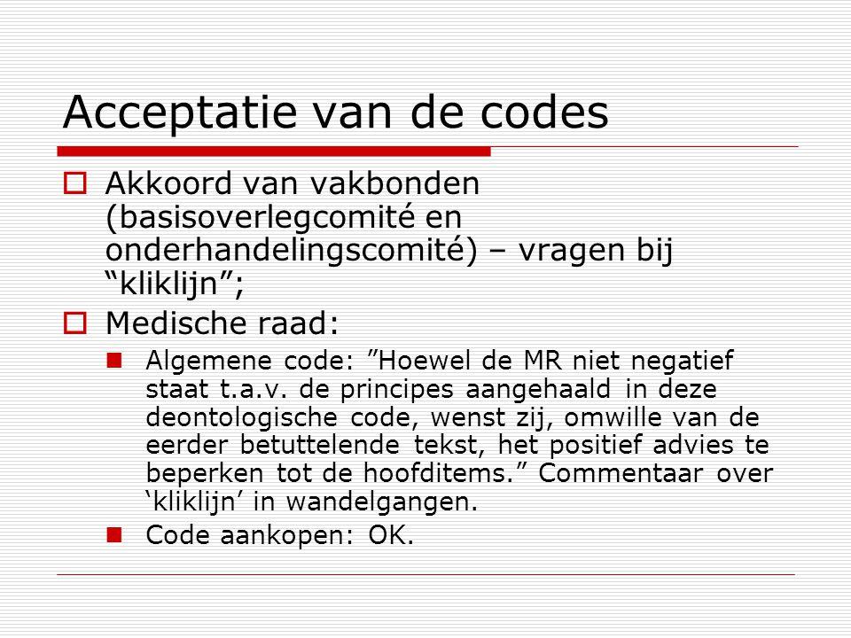 Acceptatie van de codes