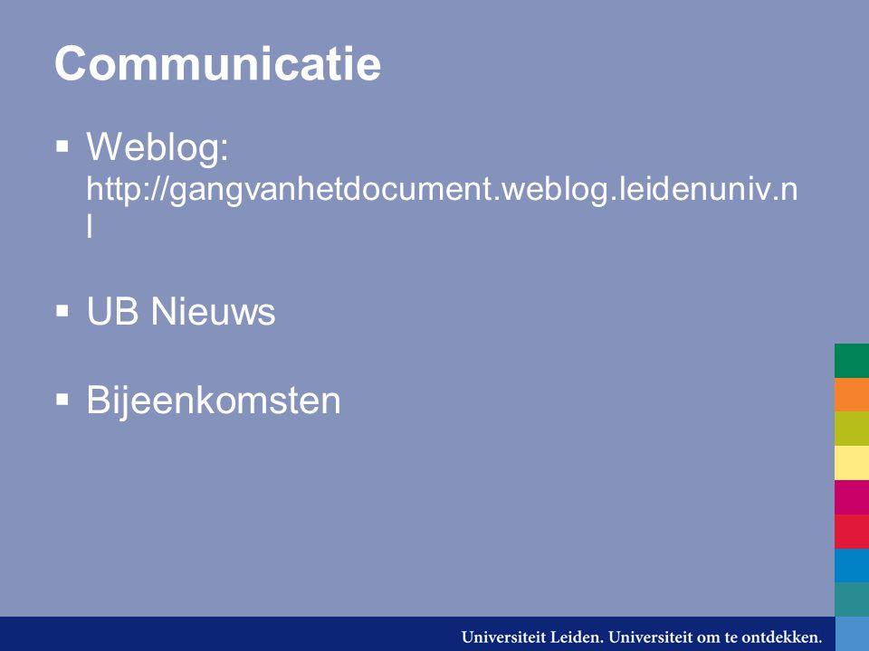 Communicatie Weblog: http://gangvanhetdocument.weblog.leidenuniv.nl