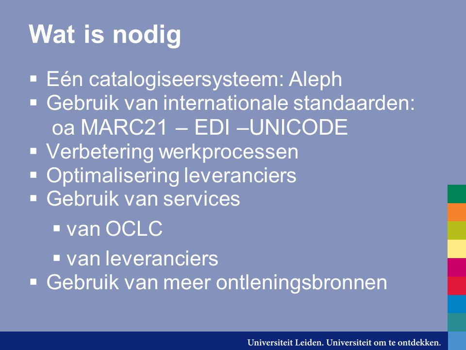 Wat is nodig Eén catalogiseersysteem: Aleph