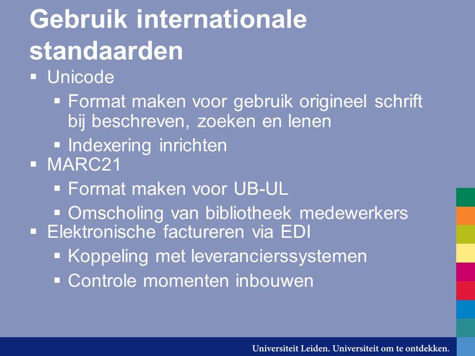 Gebruik internationale standaarden