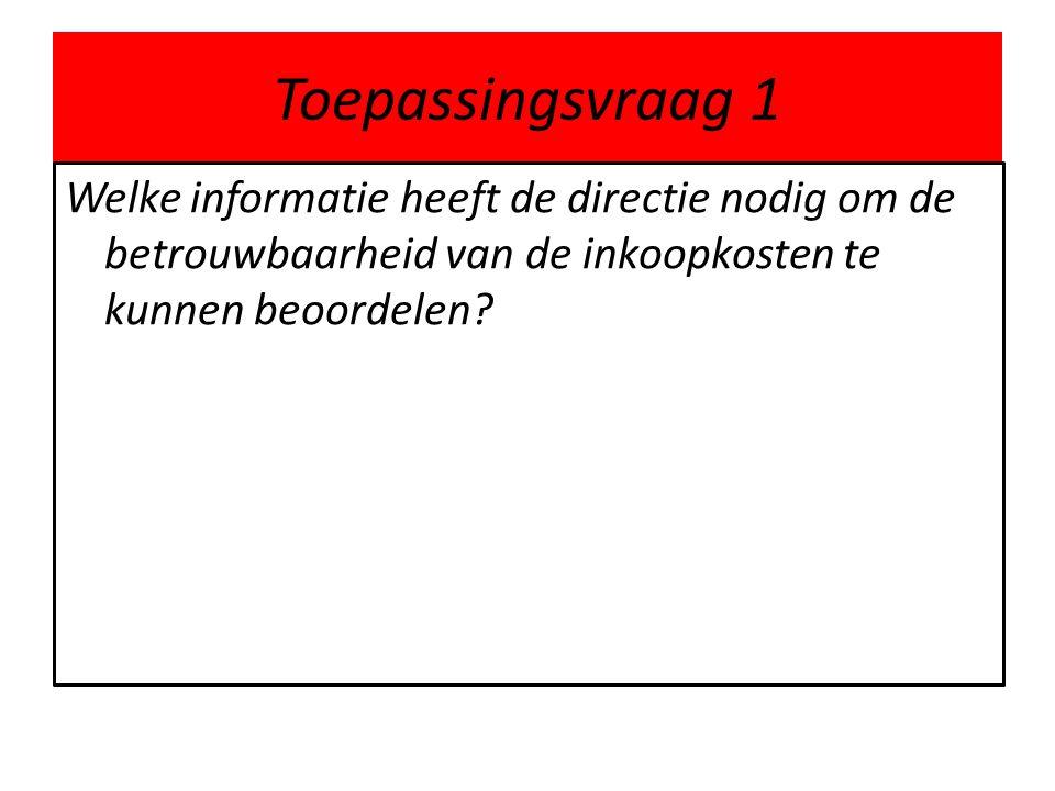 Toepassingsvraag 1 Welke informatie heeft de directie nodig om de betrouwbaarheid van de inkoopkosten te kunnen beoordelen