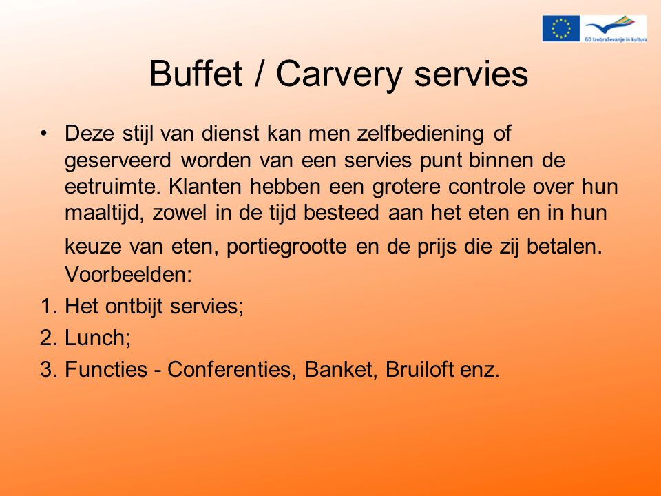 Buffet / Carvery servies
