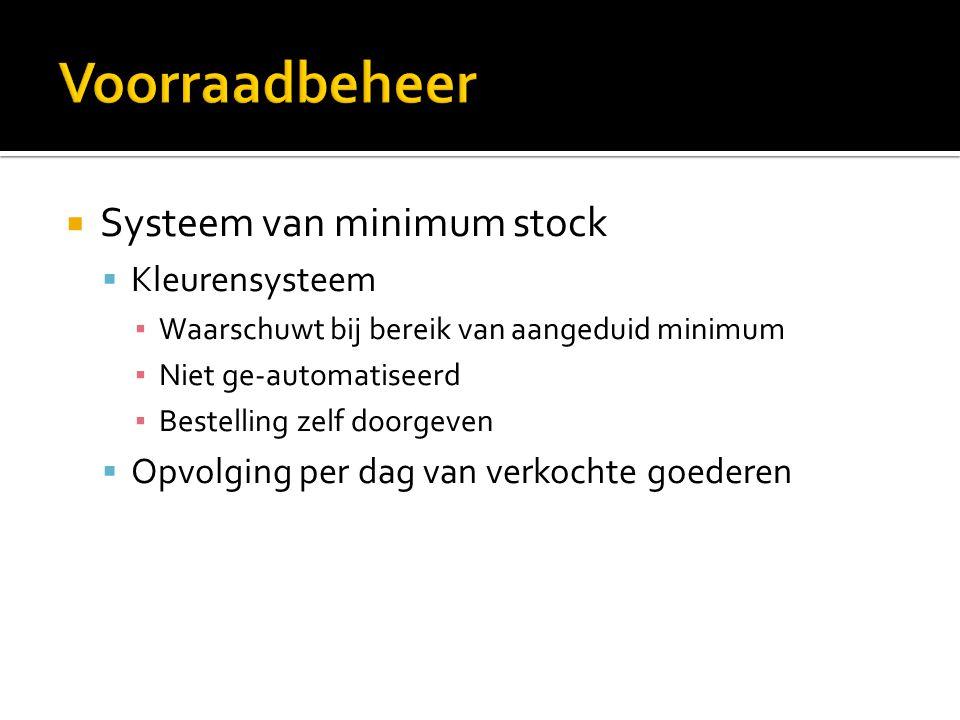 Voorraadbeheer Systeem van minimum stock Kleurensysteem