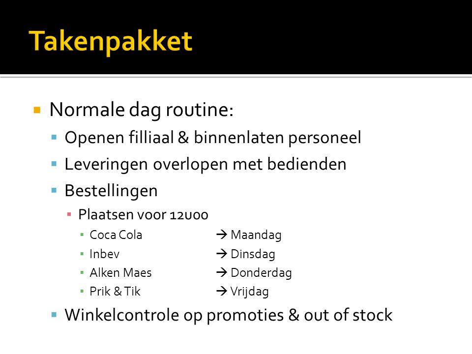 Takenpakket Normale dag routine: