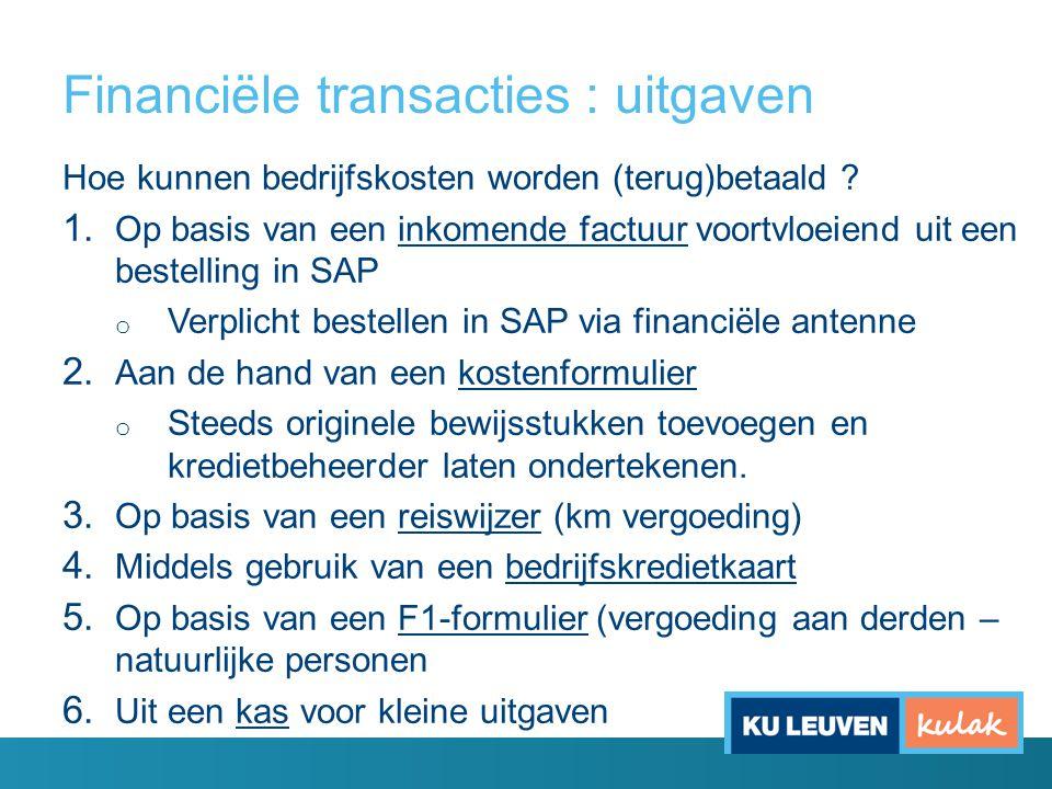 Financiële transacties : uitgaven