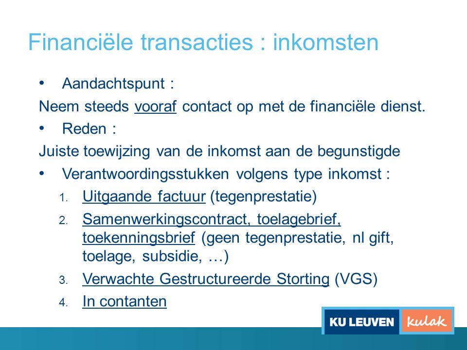 Financiële transacties : inkomsten