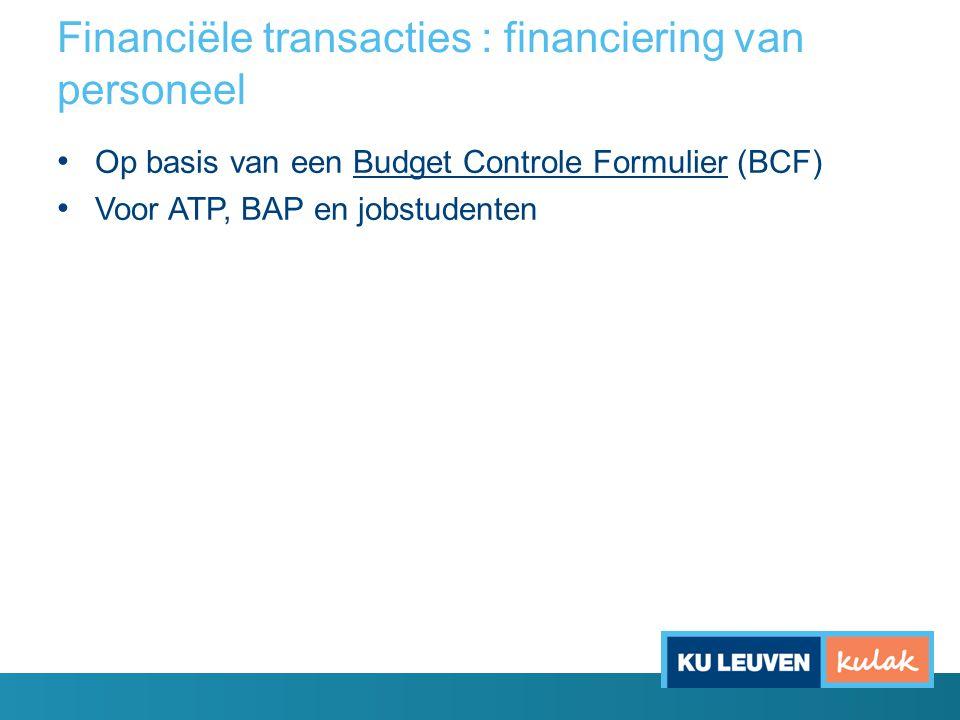 Financiële transacties : financiering van personeel