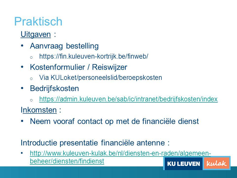 Praktisch Uitgaven : Aanvraag bestelling Kostenformulier / Reiswijzer