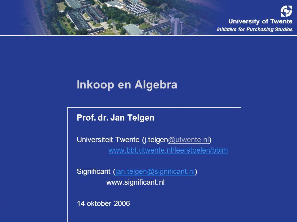 Inkoop en Algebra Prof. dr. Jan Telgen