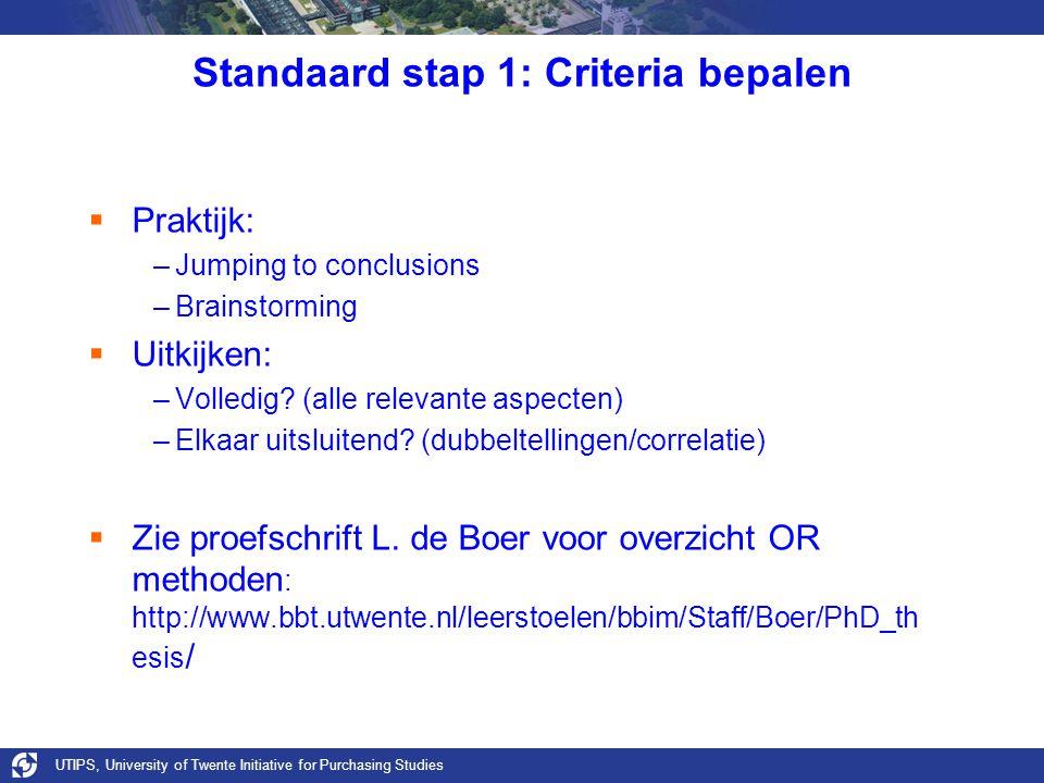 Standaard stap 1: Criteria bepalen