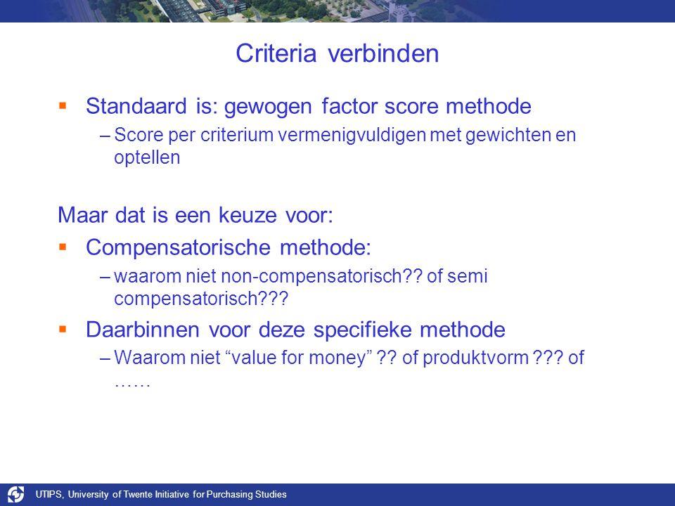 Criteria verbinden Standaard is: gewogen factor score methode