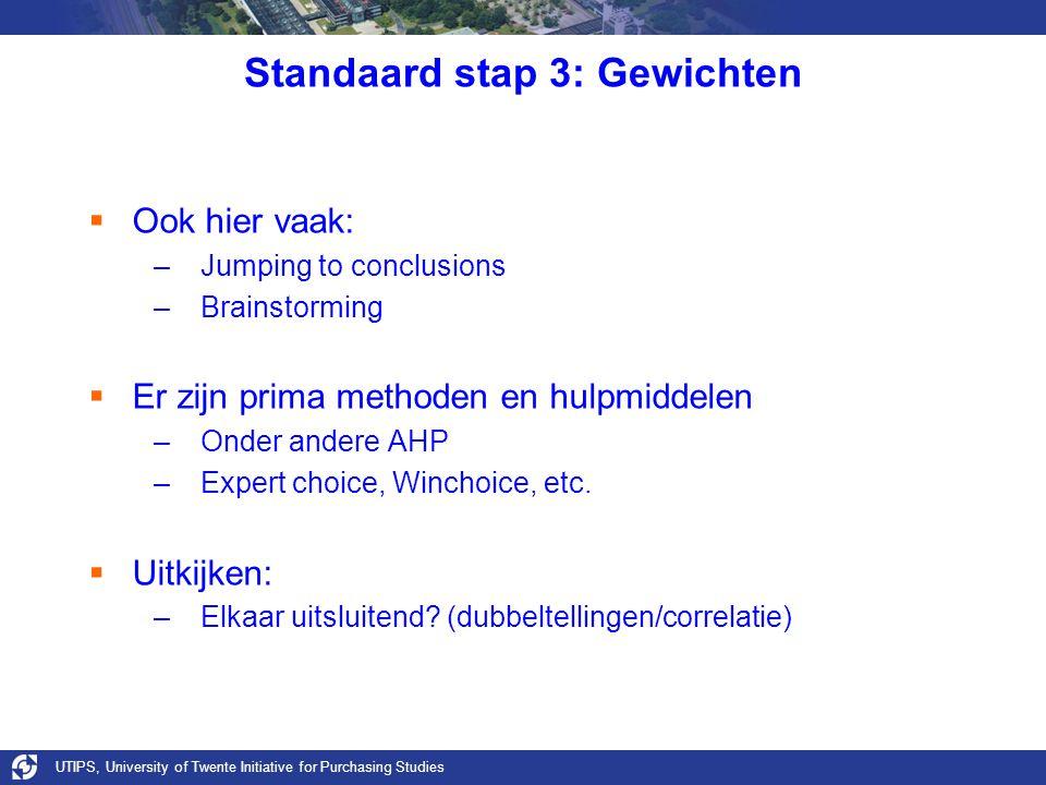 Standaard stap 3: Gewichten