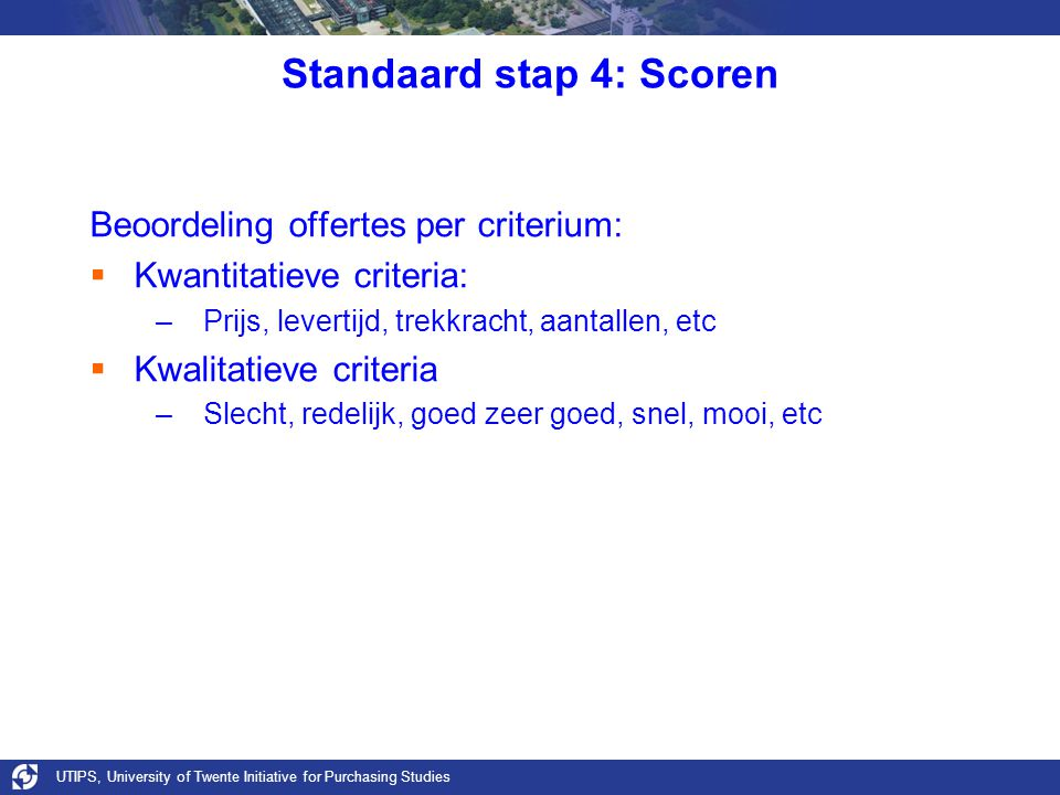 Standaard stap 4: Scoren