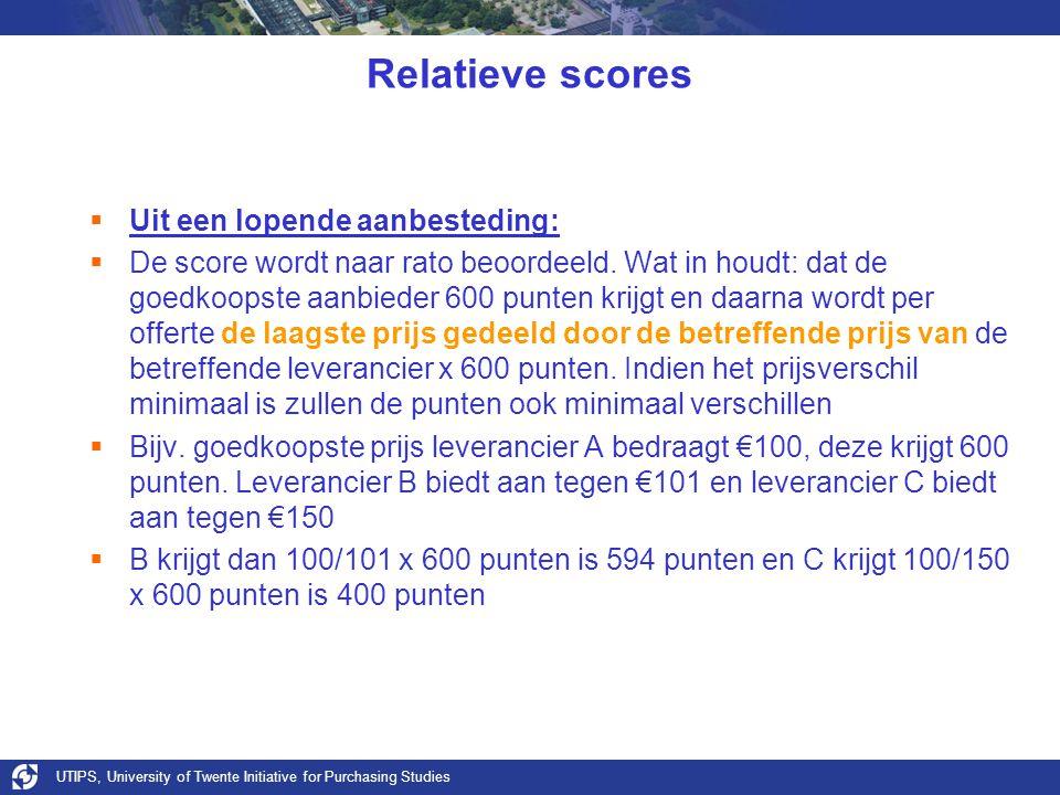 Relatieve scores Uit een lopende aanbesteding: