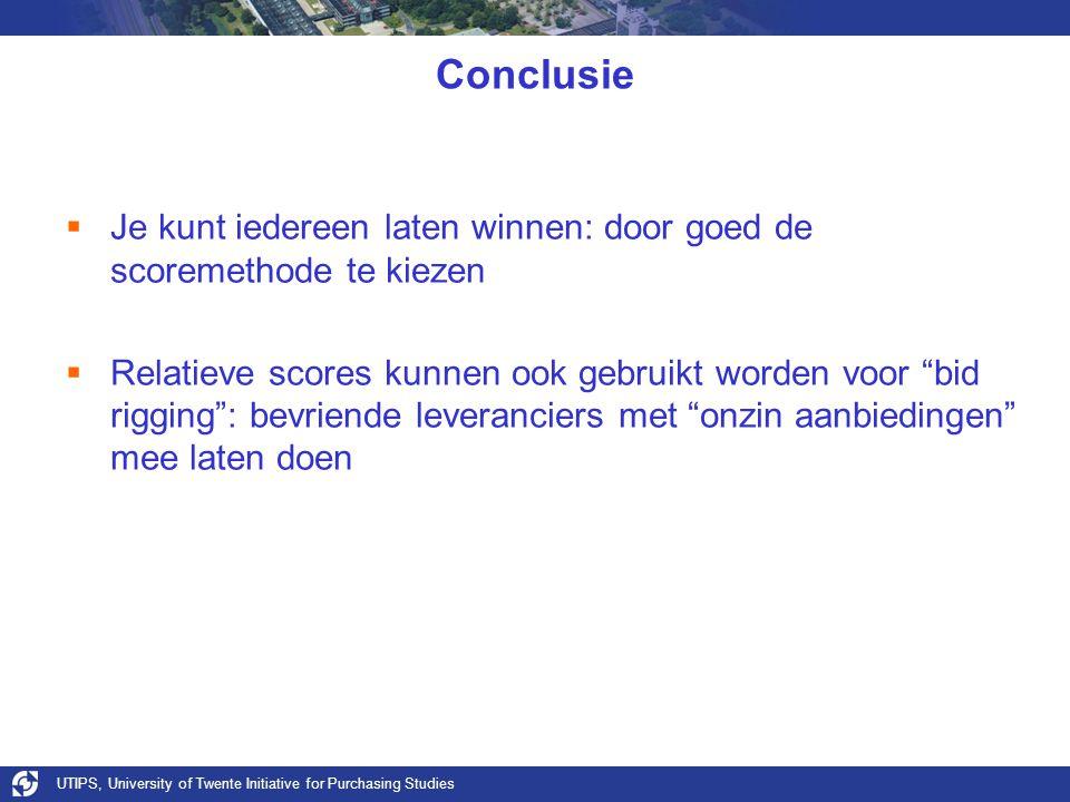 Conclusie Je kunt iedereen laten winnen: door goed de scoremethode te kiezen.